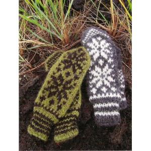 Moufles gris motif rose islandaise